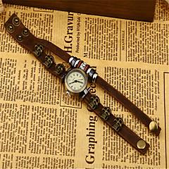 お買い得  レディース腕時計-女性用 ファッションウォッチ クォーツ レザー バンド ハンズ ヴィンテージ スカル ブラウン / ブロンズ - Brown 青銅色