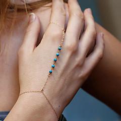 Damskie Bransoletki i łańcuszki na rękę Bransoletka z pierścionkiem Biżuteria Bohemia Style Ręcznie wykonane Turkusowy Stop Circle Shape
