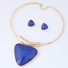여성용 보석 세트 패션 Euramerican 의상 보석 레진 합금 Triangle Shape 1 목걸이 1 쌍의 귀걸이 제품 파티 일상 결혼 선물