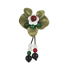 여성 브로치 베이직 디자인 합금 Flower Shape 레드 보석류 용 캐쥬얼