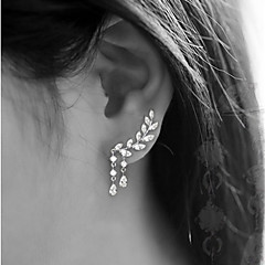 cheap Earrings-Women's Cubic Zirconia Stud Earrings - Leaf Simple, Tassel Gold / Silver For Party / Gift / Daily