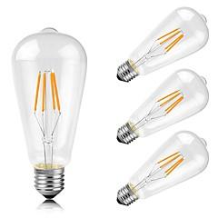 お買い得  LED 電球-4本 4W 400lm E26 / E27 フィラメントタイプLED電球 ST64 4 LEDビーズ COB 装飾用 温白色 220-240V