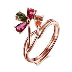 preiswerte Ringe-Damen Stulpring - Sterling Silber, Krystall, Rose Gold überzogen Blume Verstellbar Rotgold Für Party Geburtstag Geschäft