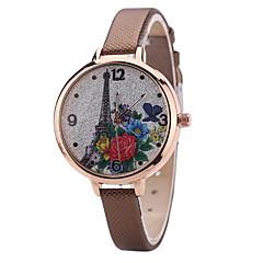 Women's Fashion Watch Wrist Watch Quartz PU Band Unique Creative Cool Casual Cute Silver Powder Multi-colored Eiffel Tower Alloy Dial Watches
