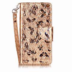 Для Чехлы панели Кошелек Бумажник для карт со стендом Флип Магнитный С узором Чехол Кейс для Бабочка Твердый Искусственная кожа для Huawei