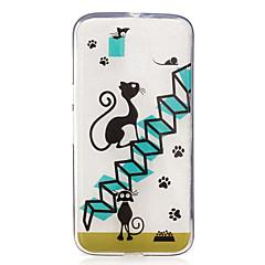 Недорогие Чехлы и кейсы для Motorola-Кейс для Назначение Motorola IMD Прозрачный С узором Кейс на заднюю панель Кот Мягкий ТПУ для Мото G4 Plus Moto G4 Play