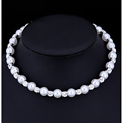 preiswerte Halsketten-Damen Perle / Kubikzirkonia Halsketten - Künstliche Perle, Kubikzirkonia Grundlegend Weiß Modische Halsketten Für Hochzeit, Besondere Anlässe, Verlobung