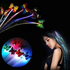 La trenza coloreada luminosa colorida del pelo de las PC 1pcs que colgaba la mariposa llevada color de ramdon de la fuente de la barra del