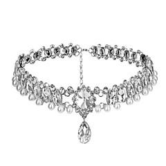 Klassinen ja Perinteinen Lolita Necklace Kimmaltava ja hohtava Hopea Lolita Tarvikkeet Necklace varten Keinotekoiset korukiveet