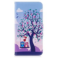 お買い得  iPhone 5S/SE ケース-ケース 用途 Apple iPhone 7 Plus iPhone 7 カードホルダー ウォレット スタンド付き フリップ パターン フルボディーケース 木 フクロウ ハード PUレザー のために iPhone 7 Plus iPhone 7 iPhone 6s Plus