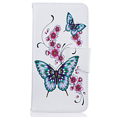 Недорогие Кейсы для iPhone 6-Для iphone 7plus 7 phone case pu кожаный материал персик бабочка узор окрашенный корпус телефона 6s плюс 6plus 6s 6 se 5s 5