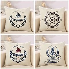 tanie Poduszki-4 szt Cotton / Linen Pokrywa Pillow Poszewka na poduszkę,Nowość Żeglarskie Modny Retro Tradycyjny / Classic Euro Neoklasycyzm