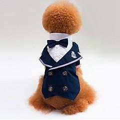 お買い得  犬用ウェア&アクセサリー-ネコ 犬 Tシャツ スウェットシャツ タキシード 犬用ウェア カラーブロック ブルー コットン コスチューム ペット用 男性用 女性用 パーティー コスプレ 結婚式