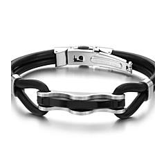 Недорогие Женские украшения-Муж. Кожаные браслеты - Нержавеющая сталь, Кожа Черный
