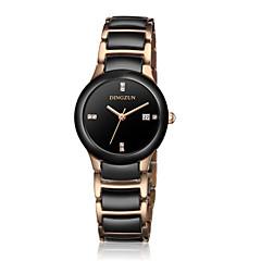 お買い得  レディース腕時計-女性用 ファッションウォッチ クォーツ セラミック バンド ブラック 白 ゴールド