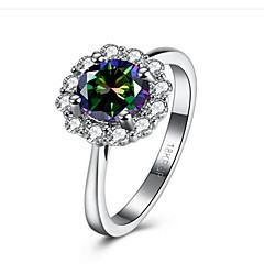 お買い得  指輪-女性用 合成ダイヤモンド / キュービックジルコニア ステンレス鋼 / キュービックジルコニア フラワー 指輪 - ファッション ホワイト リング 用途 おめでとう / 贈り物 / 日常