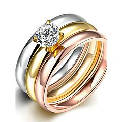 preiswerte Ringe-Damen Bandring / Ring / Verlobungsring - Titanstahl, versilbert, vergoldet Simple Style, Modisch, Brautkleidung 6 / 7 / 8 Gold Für Weihnachts Geschenke / Hochzeit / Party / Rose Gold überzogen