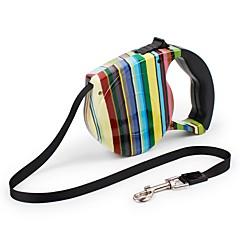 お買い得  犬用首輪/リード/ハーネス-ネコ 犬 リード 携帯用 安全用具 調整可能 虹色 フラワー ナイロン ABS ホワイト ブラック ブルー 虹色