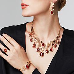 Γυναικεία Σετ Κοσμημάτων Βραχιόλι Δαχτυλίδι Μοντέρνα Κοσμήματα με στυλ κοσμήματα πολυτελείας κοστούμι κοστουμιών Στρας 18K χρυσό Κρεμαστό