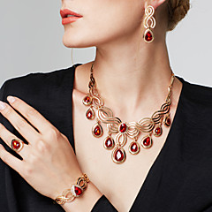 Dames Sieraden Set Armband Ring Modieus Opvallende sieraden Luxe Sieraden Kostuum juwelen Strass 18K goud Drop Oorbellen Ketting Armband