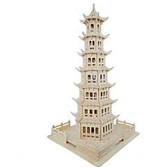 ieftine -Puzzle 3D Puzzle Modele de Lemn Μοντέλα και κιτ δόμησης Circular Turn Clădire celebru Casă Arhitectură Simulare Lemn Lemn natural Pentru