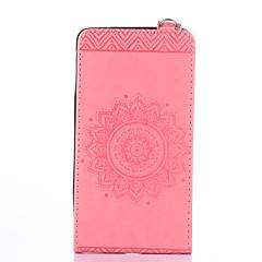 Недорогие Чехлы и кейсы для Galaxy Note 5-Кейс для Назначение SSamsung Galaxy Бумажник для карт со стендом Флип Рельефный Чехол Сплошной цвет Цветы Твердый Кожа PU для Note 5 Note