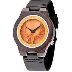 tanie Skóra-Męskie Sportowy Modny Zegarek na nadgarstek Unikalne Kreatywne Watch Na codzień Zegarek Drewno Kwarcowy drewniany Skóra naturalna Pasmo