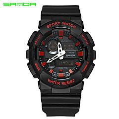 お買い得  大特価腕時計-SANDA 男性用 スポーツウォッチ / リストウォッチ 日本産 アラーム / 耐水 / 2タイムゾーン ラバー バンド チャーム ブラック / 白 / 2年 / Maxell626 + 2025