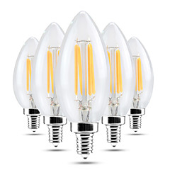 cheap LED Bulbs-4W E14 LED Candle Lights C35 4 leds COB Dimmable Decorative Warm White Cold White 300-400lm 2800-3200/6000-6500K AC 220-240V
