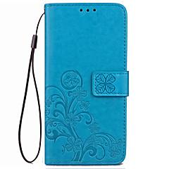 voordelige Hoesjes / covers voor Xiaomi-Hoesje voor xiaomi redmi 4x hoesje hoesje kaarthouder portemonnee met tribune flip reliëf full body hoesje vaste kleur bloem hard pu leer