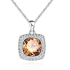 Жен. Ожерелья-бархатки Ожерелья с подвесками Кристалл Цирконий В форме квадрата Геометрической формы Синтетические драгоценные камни