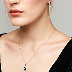 Women's Jewelry Set Stud Earrings Pendant Necklaces Synthetic Sapphire Fashion European Elegant Synthetic Gemstones Cubic Zirconia