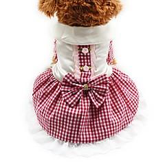 halpa -Kissa Koira Hameet Smokki Koiran vaatteet Juhla Rento/arki Häät Ruutu/skotti Punainen Sininen Pinkki