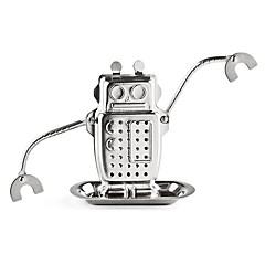 1 db robot alakú teáskabátok rozsdamentes acél fém textúra tea infúzió