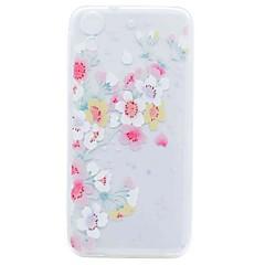 Til HTC Desire 626 cover til cover gennemsigtigt mønster bagcover kirsebær blomst blødt tpu tilfælde