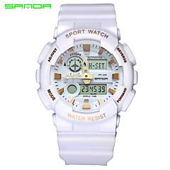 preiswerte Tolle Angebote auf Uhren-SANDA Herrn Armbanduhr / Sportuhr Japanisch Alarm / Wasserdicht / Duale Zeitzonen Caucho Band Charme Schwarz / Weiß