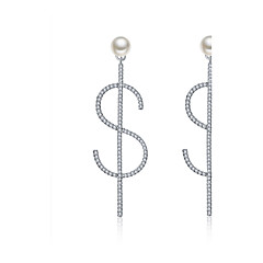 Women's Drop Earrings Personalized Hypoallergenic Multi-ways Wear Bling Bling Pearl Sterling Silver Zircon Jewelry For Wedding Gift