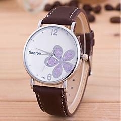 preiswerte Herrenuhren-Herrn Damen Quartz Armbanduhr Chinesisch PU Band Blume Einzigartige kreative Uhr Modisch Schwarz Weiß Rot Braun