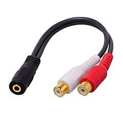 3.5mm Audio Jack sovitinkaapeli, 3.5mm Audio Jack to 2RCA sovitinkaapeli Naaras - Naaras 0.2m (0.65Ft)