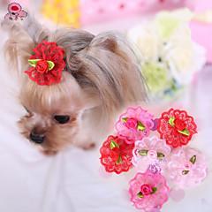 お買い得  猫の服-ネコ / 犬 ヘアアクセサリー / ボウ 犬用ウェア ローズ / レッド / ピンク テリレン コスチューム ペット用 コスプレ / 結婚式