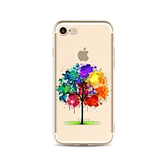 billige Etuier til iPhone 7-Etui Til Apple iPhone X iPhone 8 Plus Transparent Mønster Bagcover Farvegradient Træ Blødt TPU for iPhone X iPhone 8 Plus iPhone 8 iPhone