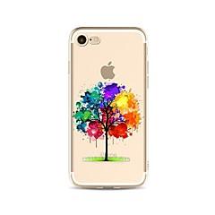 Недорогие Кейсы для iPhone 5-Кейс для Назначение Apple iPhone X iPhone 8 Plus Прозрачный С узором Кейс на заднюю панель Градиент цвета дерево Мягкий ТПУ для iPhone X