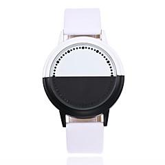 preiswerte Herrenuhren-Herrn Armbanduhr Quartz Kreativ LED Leder Band Analog-Digital Freizeit Modisch Einzigartige kreative Uhr Schwarz / Weiß - Weiß Schwarz
