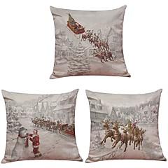 tanie Poduszki-3 szt Bielizna Naturalne / ekologiczne Pokrywa Pillow Poszewka na poduszkę,TexturedPelerynki Modern / Contemporary Biuro / Biznes