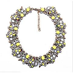 preiswerte Halsketten-Damen Synthetischer Aquamarin, Multi-Stein, Kristall Kragen - Krystall Schwarz, Gelb, Rosa / Synthetischer Rubin / Kubikzirkonia