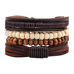 Men's Strand Bracelet Wrap Bracelet Handmade Fashion Adjustable Personalized Leather Wood Round Jewelry For Street