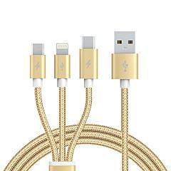 USB 2.0 Kablo, USB 2.0 to USB 2.0 Tip C Micro USB 2.0 Lightning Kablo Erkek - Erkek 1.2m (4 ft)