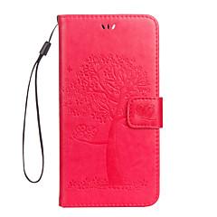 Недорогие Кейсы для iPhone 7-Кейс для Назначение Apple iPhone 7 Plus iPhone 7 Бумажник для карт Кошелек со стендом Флип Магнитный С узором Рельефный Чехол дерево Сова
