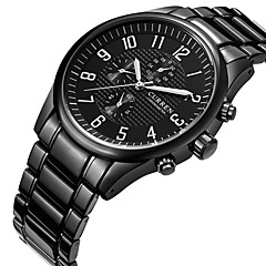 お買い得  メンズ腕時計-CURREN 男性用 スポーツウォッチ 軍用腕時計 リストウォッチ クォーツ クリエイティブ カジュアルウォッチ クール ステンレス バンド ハンズ チャーム ぜいたく カジュアル ブラック - ホワイト ブラック 2年 電池寿命 / Maxell SR626SW
