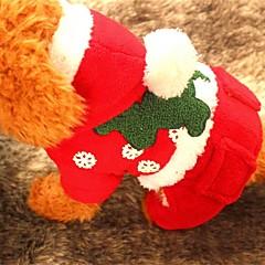 お買い得  犬用ウェア&アクセサリー-犬 パーカー 犬用ウェア クリスマス 純色 レッド